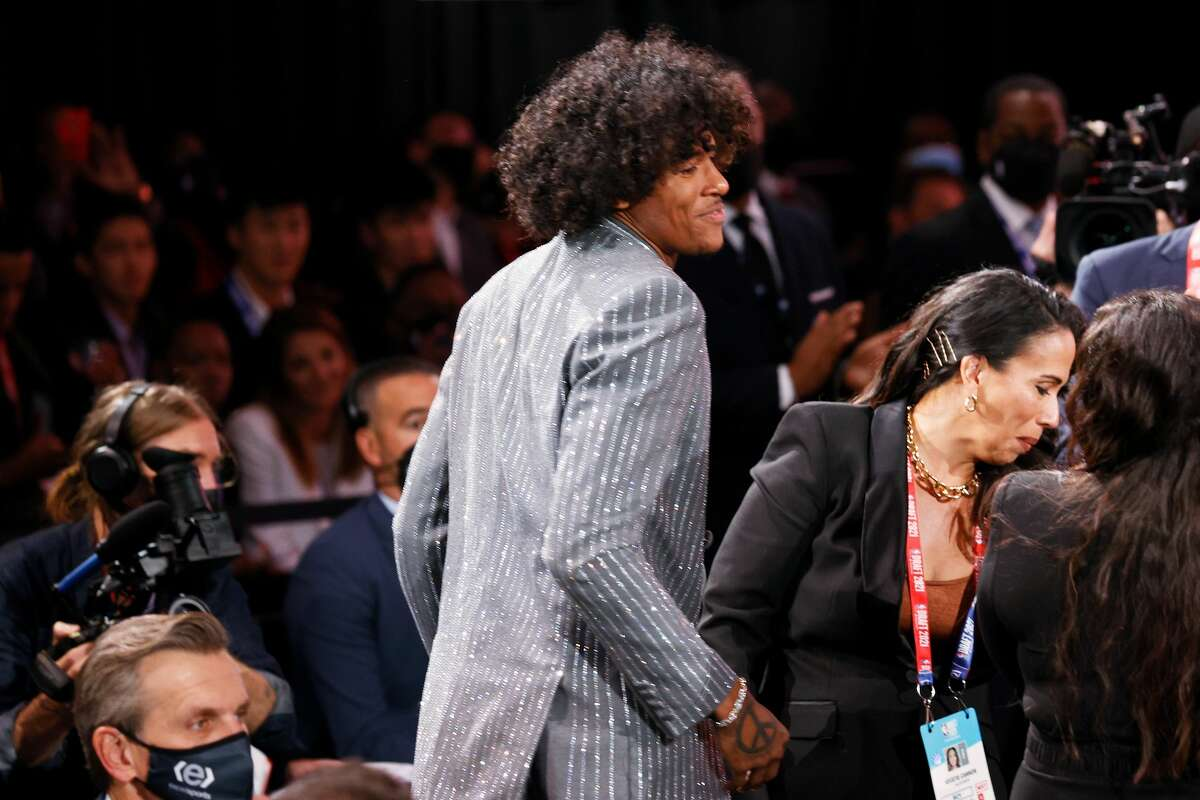 Jalen Green reacts after being drafted by the Houston Rockets during the 2021 NBA Draft at the Barclays Center on July 29, 2021 in New York City.