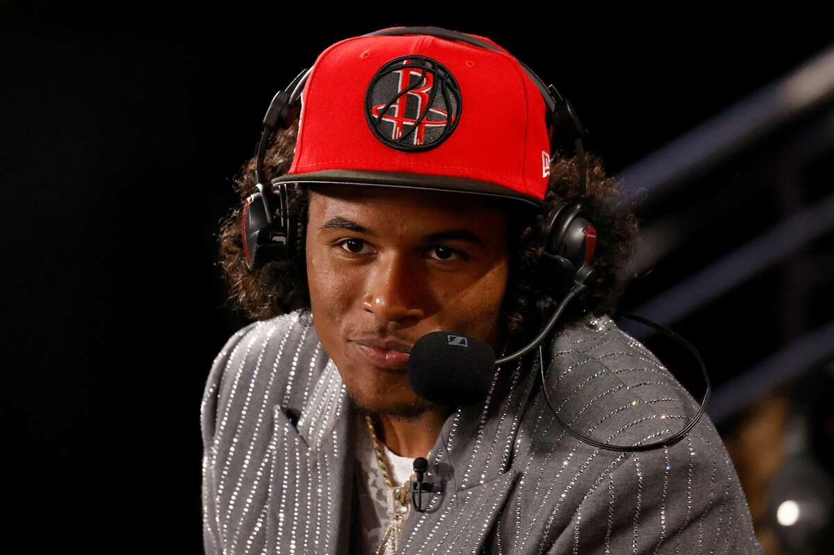 Jalen Green is interviewed after being drafted by the Toronto Raptors during the 2021 NBA Draft at the Barclays Center on July 29, 2021 in New York City.