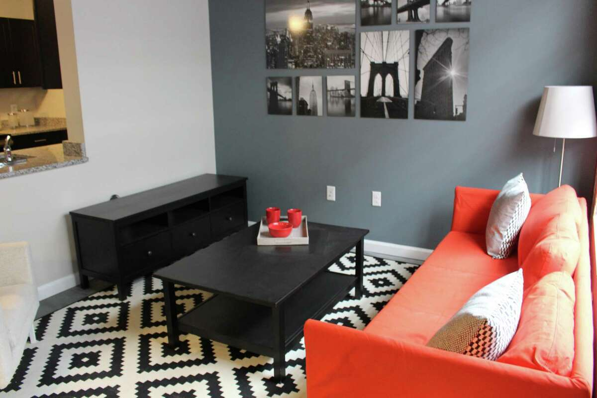 The interior of an apartment at Bridgeport's Cherry Street Lofts.
