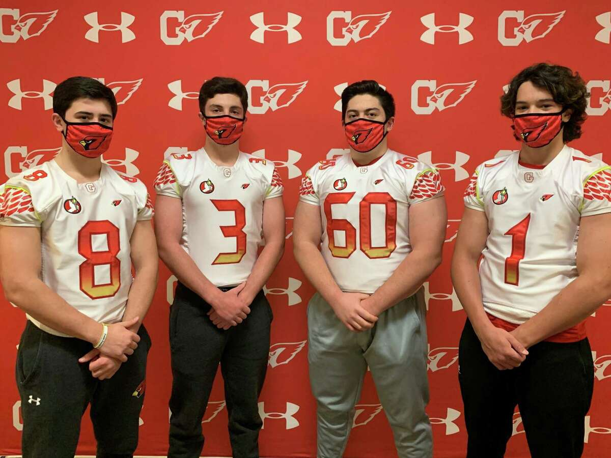 The Greenwich High School foortball captains for the 2021 season are Luke Ware, Zach Mantione, Michael Sinisi, Tyler Cusimano.
