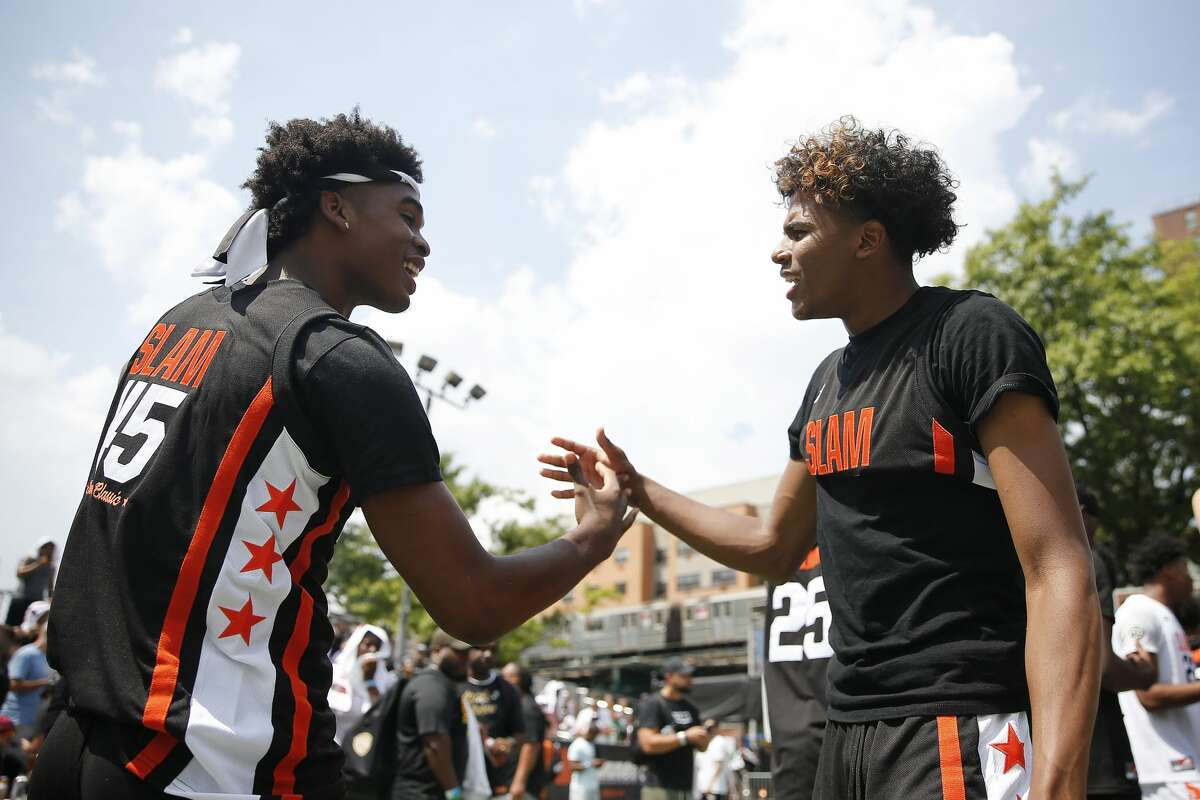 Josh Christopher (left) and Jalen Green (right) shown here at the SLAM Summer Classic in 2019 at New York City's Dyckman Park, are good friends and now are both members of the Houston Rockets.