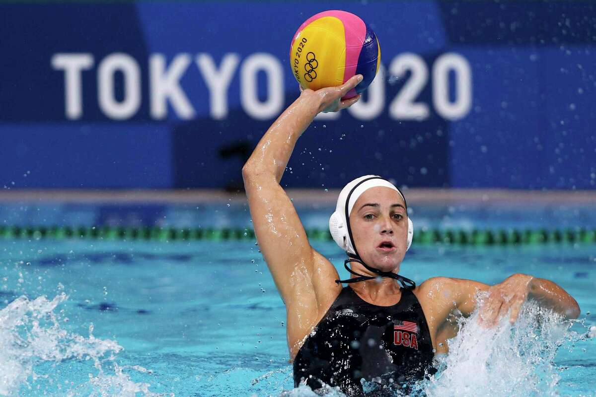 TOKYO, JAPAN - JULY 30: Maggie Steffens of Team United States during the Women's Preliminary Round Group B match between the United States and Team ROC on day seven of the Tokyo 2020 Olympic Games at Tatsumi Water Polo Centre on July 30, 2021 in Tokyo, Japan. (Photo by Harry How/Getty Images)