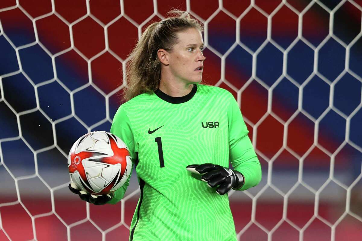 YOKOHAMA, JAPAN - JULY 30: Alyssa Naeher #1 of Team United States looks on during the Women's Quarter Final match between Netherlands and United States on day seven of the Tokyo 2020 Olympic Games at International Stadium Yokohama on July 30, 2021 in Yokohama, Kanagawa, Japan. (Photo by Francois Nel/Getty Images)