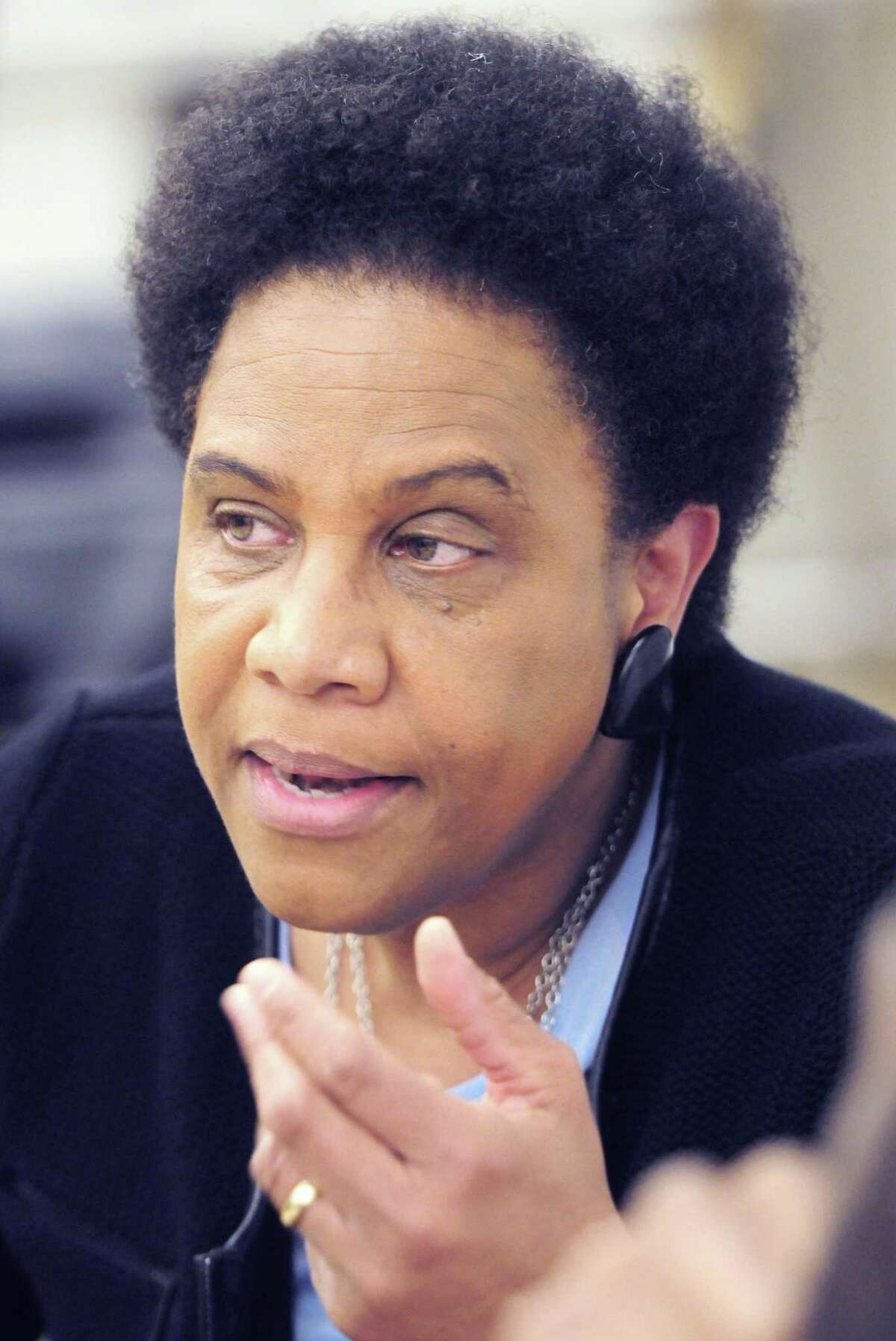 """Enola Aird during a community conversation on """"Emotional Emancipation: The Crucial Unfinished Business of the Civil Rights Movement"""" in 2013 at the Connecticut Center for Arts and Technology in New Haven"""
