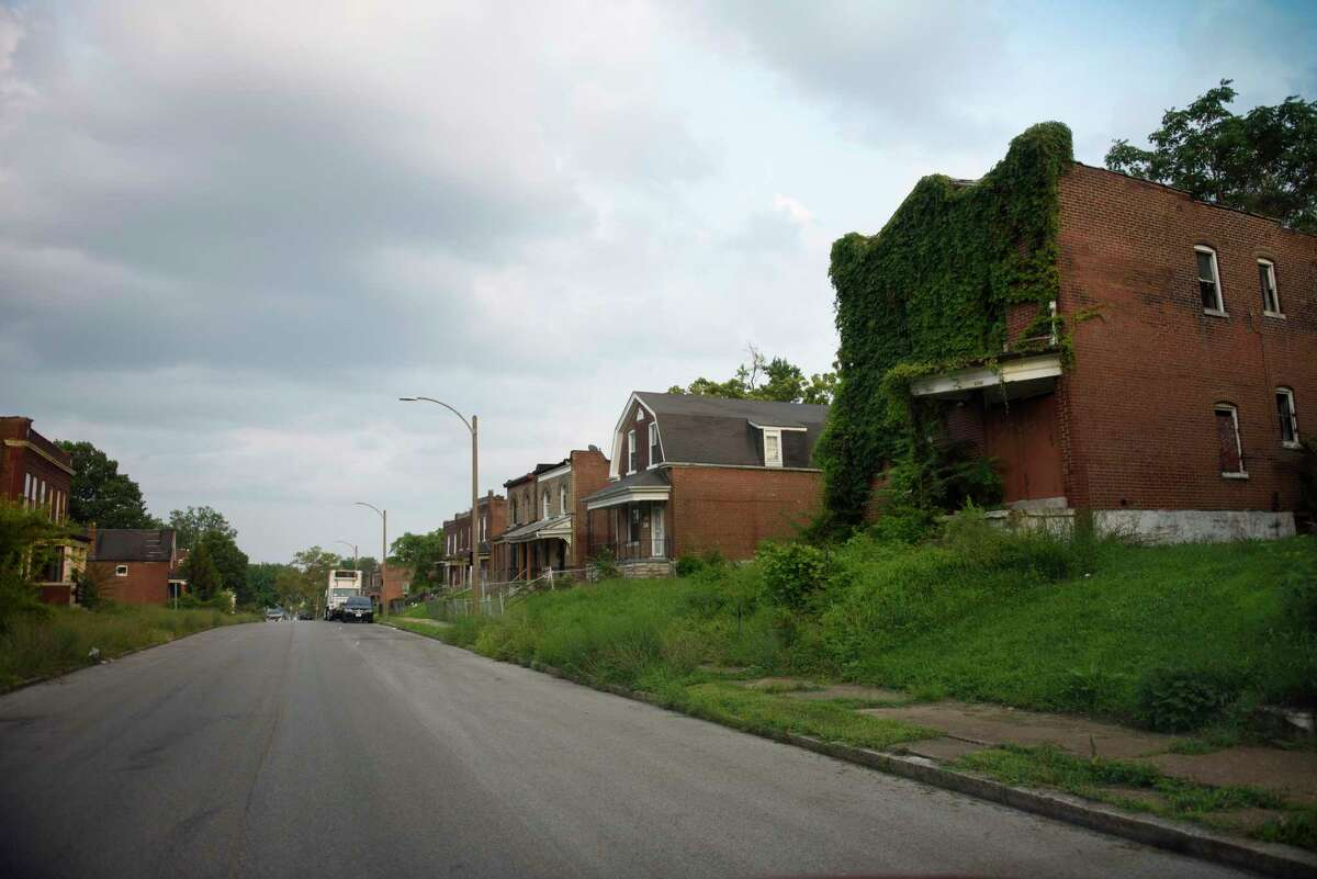 Abandoned homes line a street in the Wells-Goodfellow neighborhood in north St. Louis.