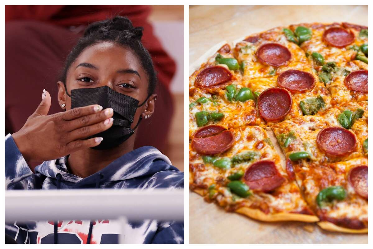 Simone Biles has a lot of pizza waiting for her back in Houston.