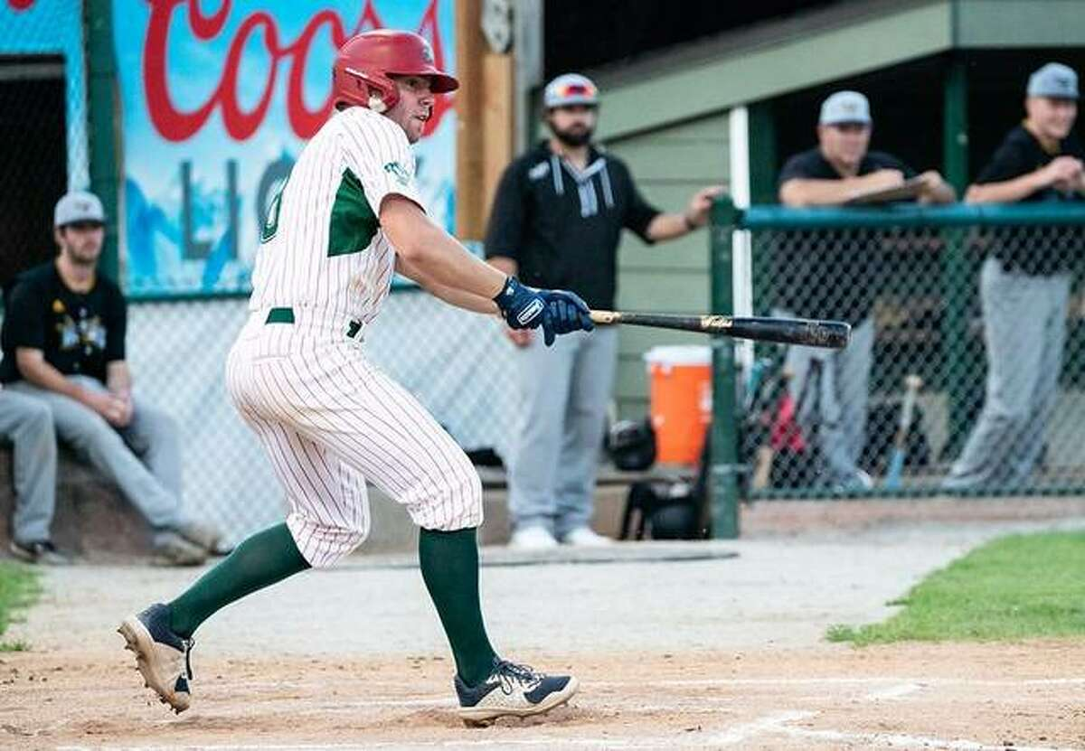 Alton's Brady Mutz had two hits and scored twice in the River Dragons' 5-4 12-inning loss to the Danville Dans Thursday night in Danville.