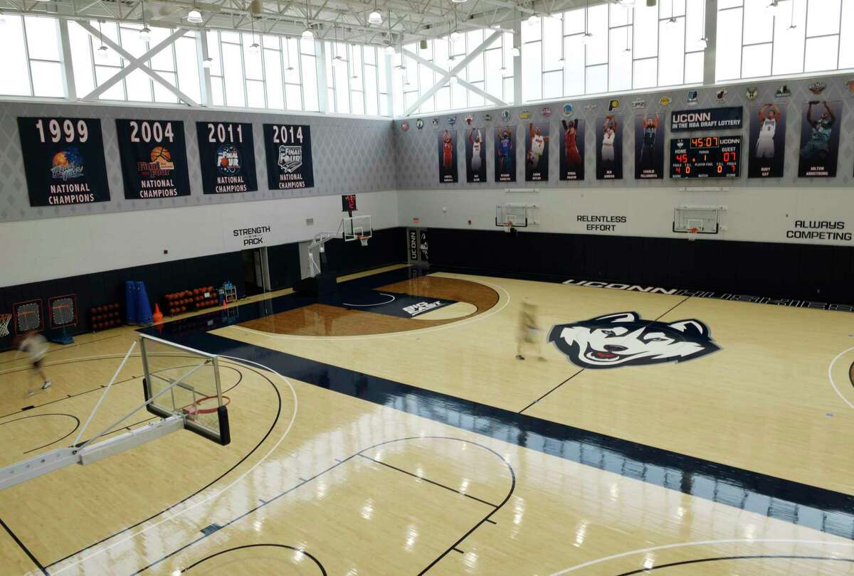 The court at the men's basketball practice facility in the Werth Family UConn Basketball Champions Center on the UConn main campus in Storrs.
