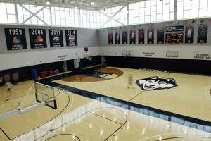 The court at the men's basketball practice facility in the Werth Family UConn Basketball Champions Center on the UConn main campus in Storrs, Conn., photographed on Wednesday, June 9, 2021.