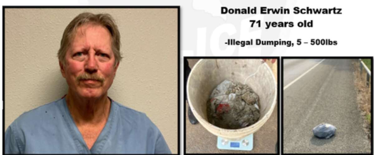The Fair Oaks Ranch Police Department has arrested Donald Erwin Schwartz, a 71-year-old Pleasant Valley resident on charges of illegally dumping between 5 and 500 pounds of waste.