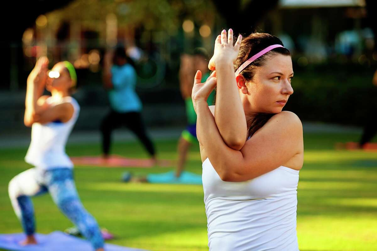 A vinyasa yoga class in on tap at Discovery Green.