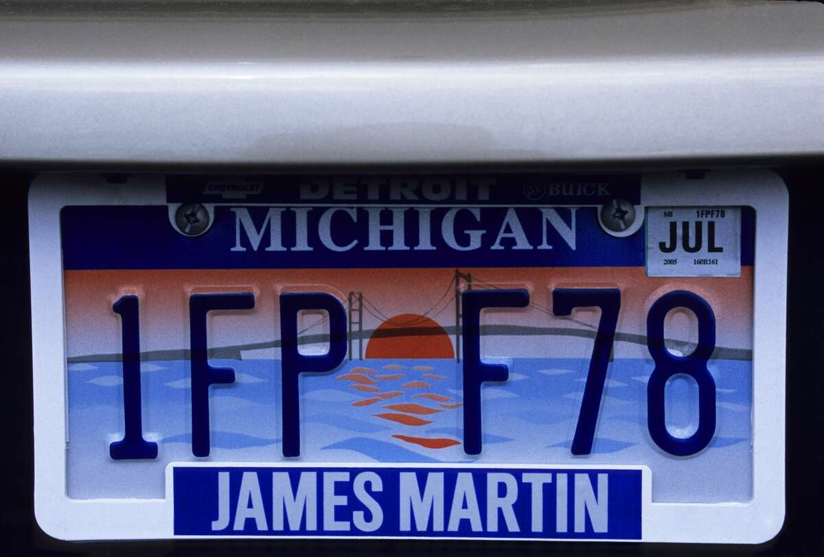 Pictured is a Michigan license plate.