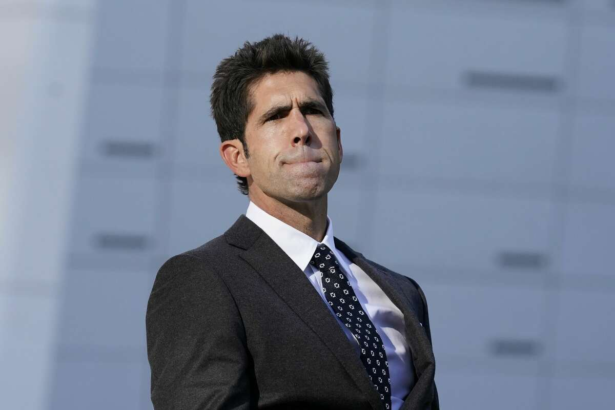 Golden State Warriors president of basketball operations and general manager Bob Myers listens to questions during a news conference in San Francisco, Thursday, Nov. 19, 2020.