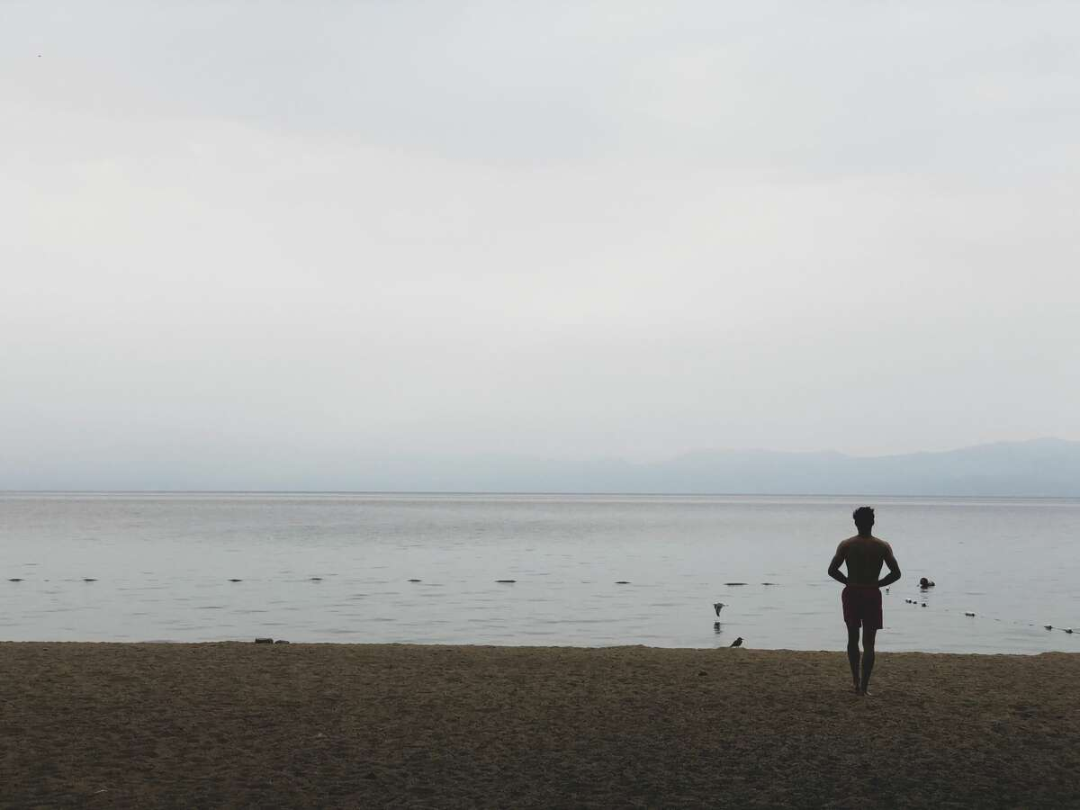 The smoke from nearby wildfires erased the horizon at Lake Tahoe.