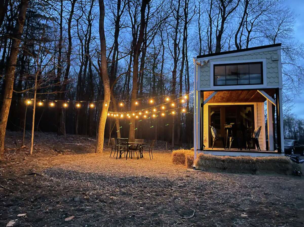 A tiny house on a property that features mini donkeys is available for rent on Airbnb in Nassau, N.Y. View listing.