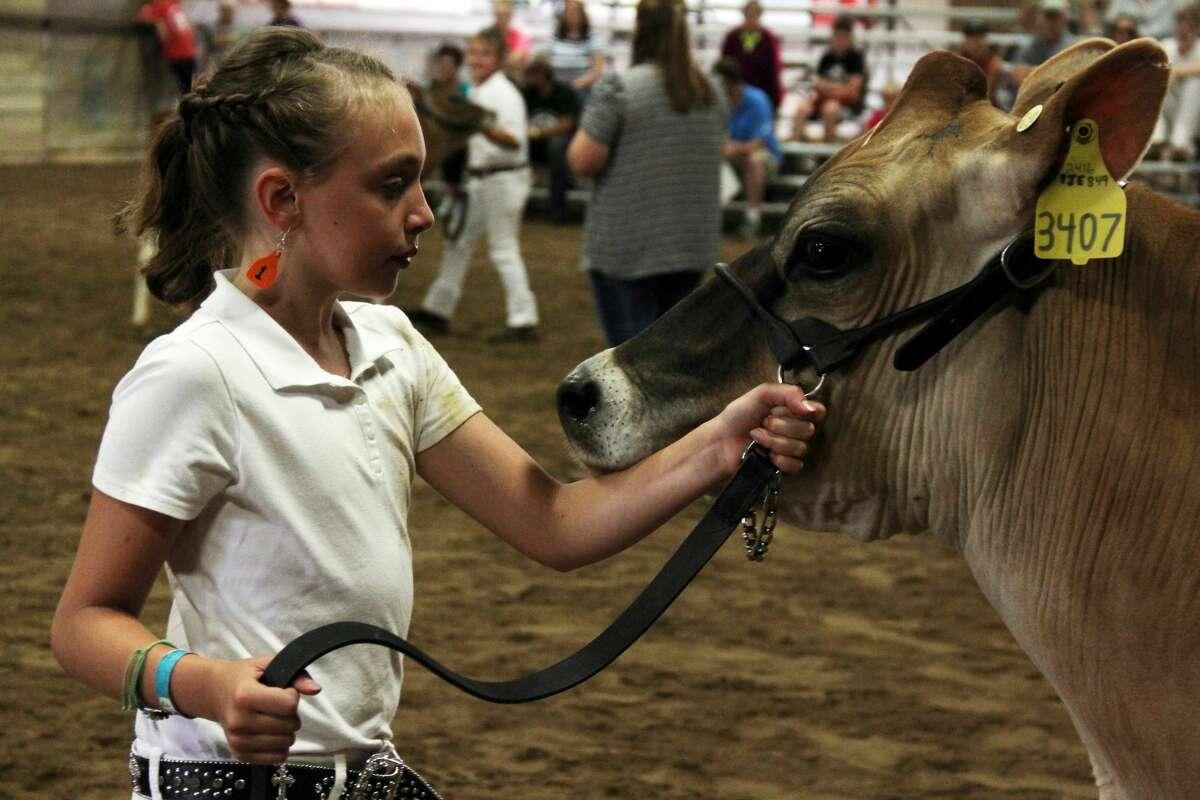 A girl experiences the Huron Community Fair in 2019