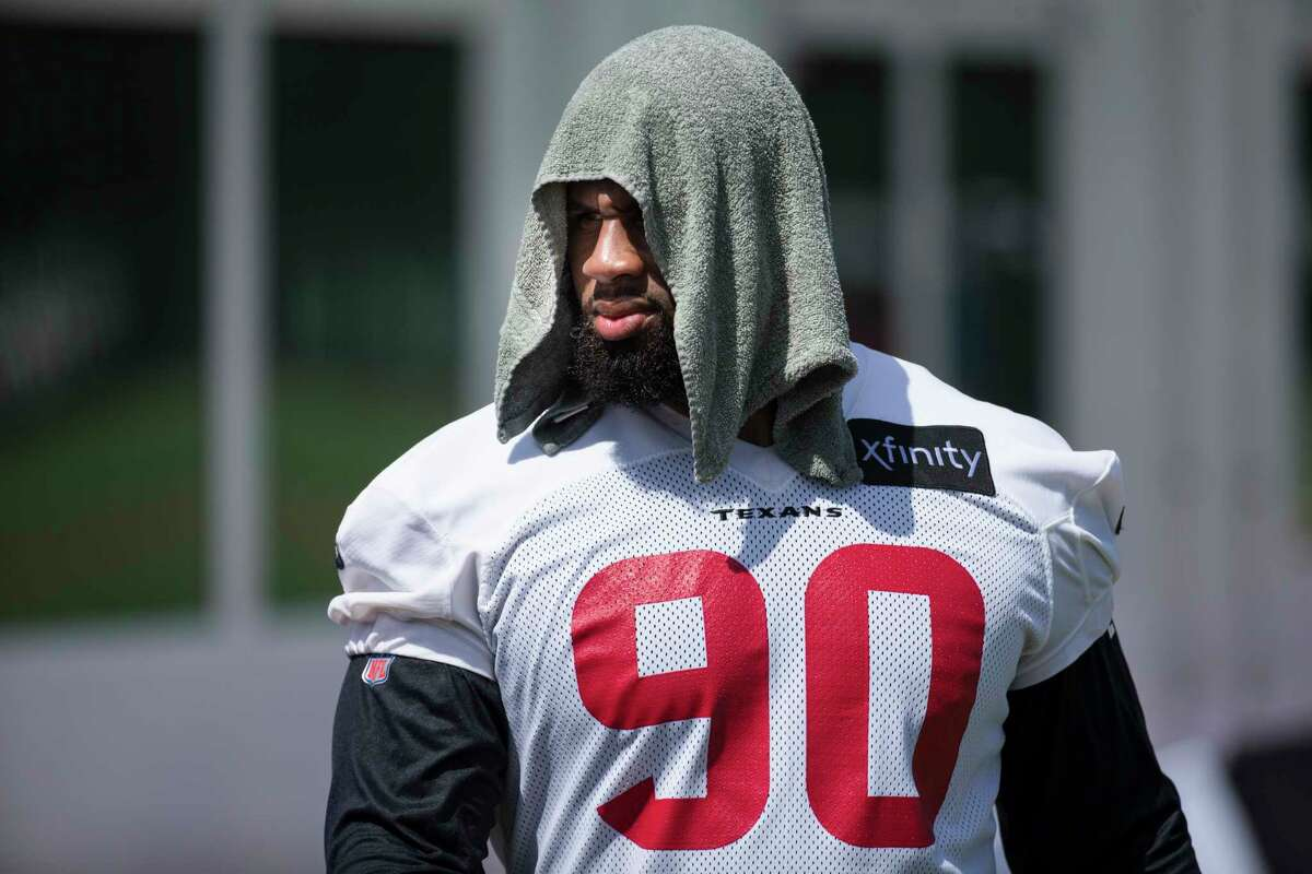 Houston Texans defensive tackle Ross Blacklock walks off the field after an NFL training camp football practice Friday, July 30, 2021, in Houston.