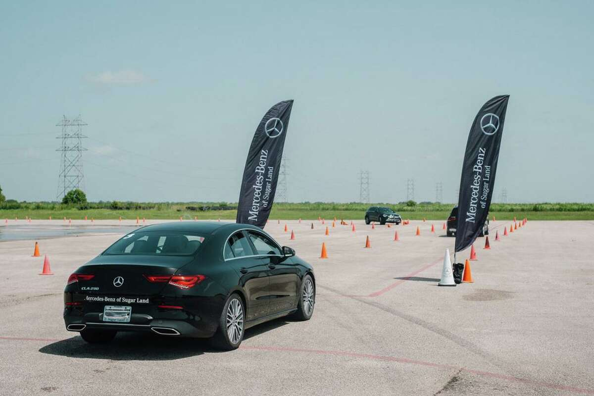Area students learning how to be safe drivers with MSR-trained instructors at the Teen Driving Safety School at Mercedes-Benz of Sugar Land.