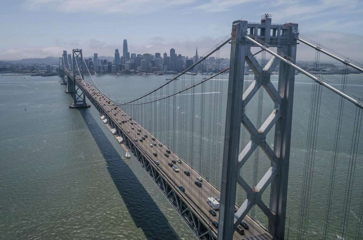 Sunday traffic on the Bay Bridge is strong, but weekday numbers lag as many people continue to work from home.