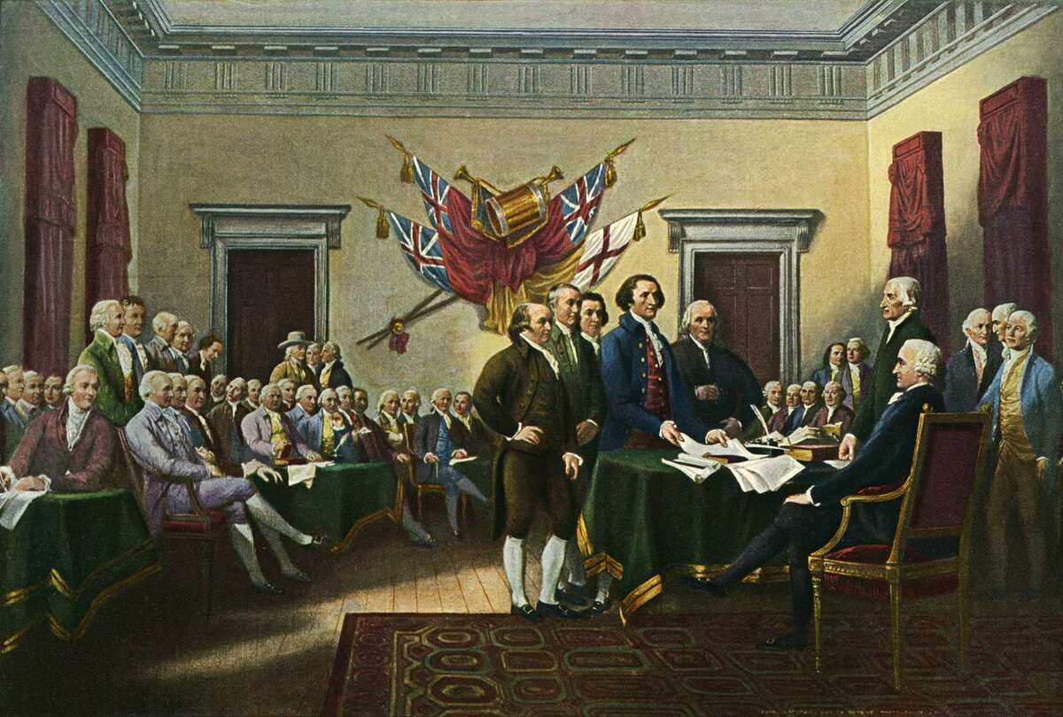 """Recognize the Founding Fathers, imperfections and all, laid the foundation for the nation to evolve and embrace the ideals espoused in the Declaration of Independence. Here, John Trumbull's """"Signing the Declaration of Independence, 28th June 1776"""""""