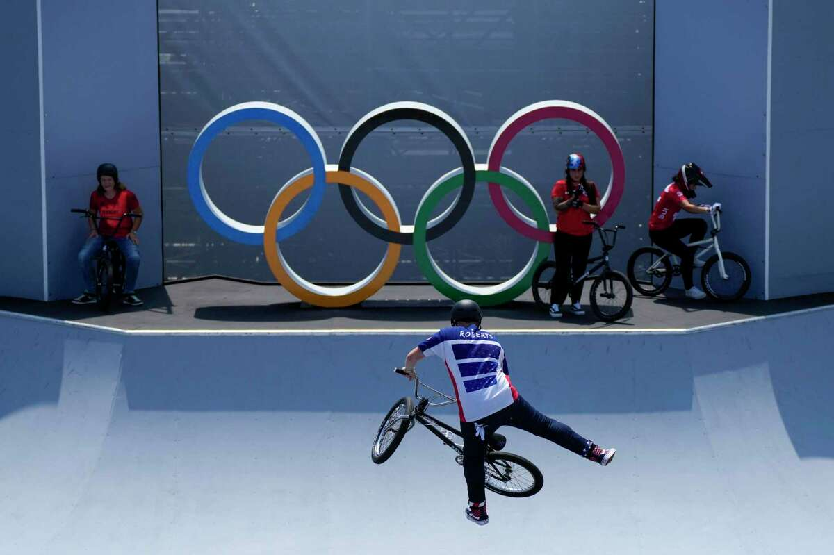 Hannah Roberts of the United States makes a jump during a BMX Freestyle training session at the 2020 Summer Olympics, Wednesday, July 28, 2021, in Tokyo, Japan. (AP Photo/Ben Curtis)