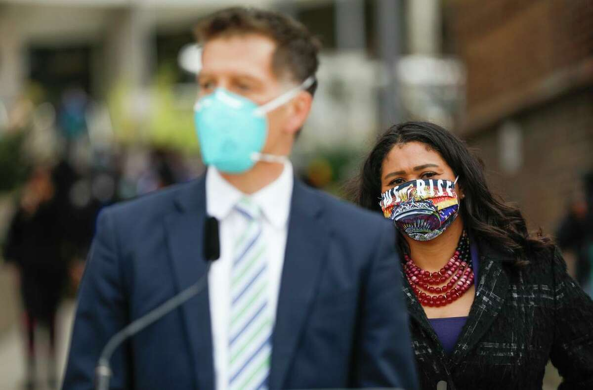 San Francisco Director of Health Dr. Grant Colfax (left) and Mayor London Breed emphasized that vaccines are effective even amid breakthrough cases.