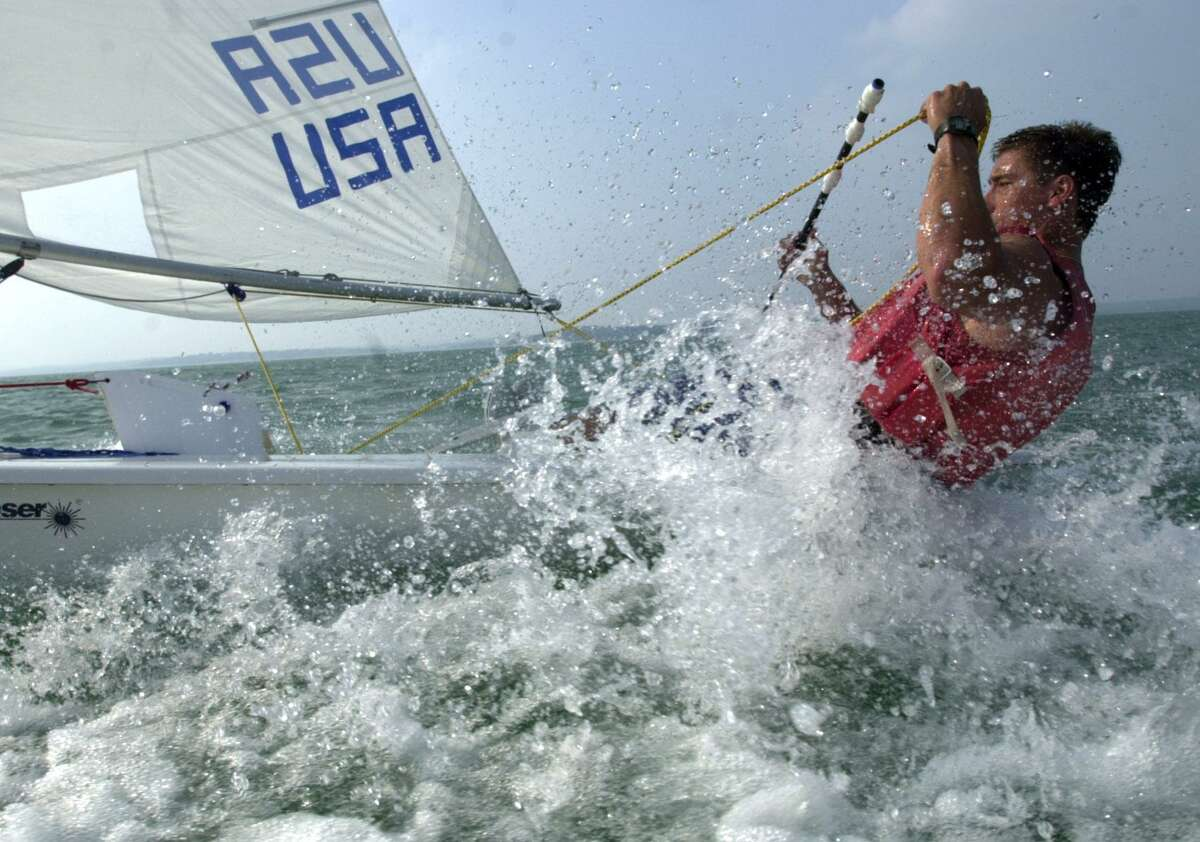 A file photo of Matt D'Errico training for the U.S. Olympic trials at the helm of a Laser dinghy.