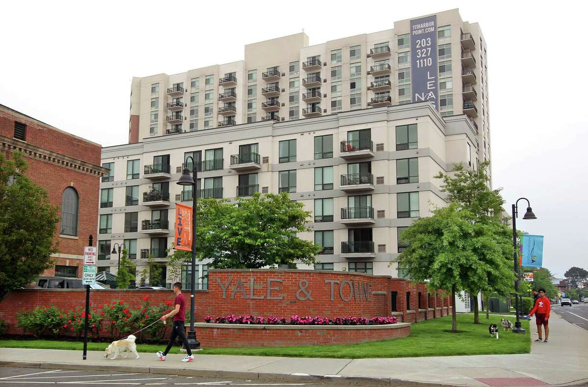 A general view of the Yale and Towne condo complex in Stamford, Conn., on Saturday May 29, 2021.