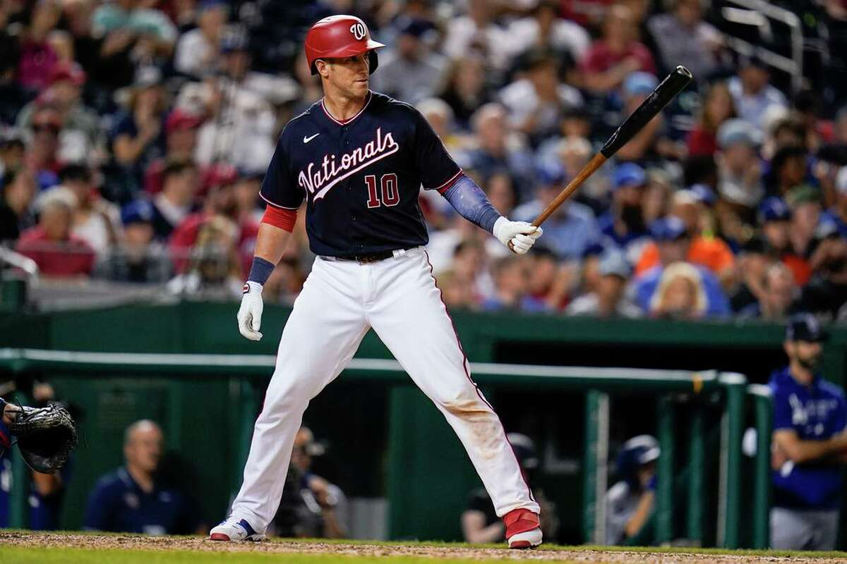 Washington Nationals' Yan Gomes waits for a pitch from the Los Angeles Dodgers during the eighth inning of a baseball game, Friday, July 2, 2021, in Washington. The Dodgers won 10-5. (AP Photo/Julio Cortez)