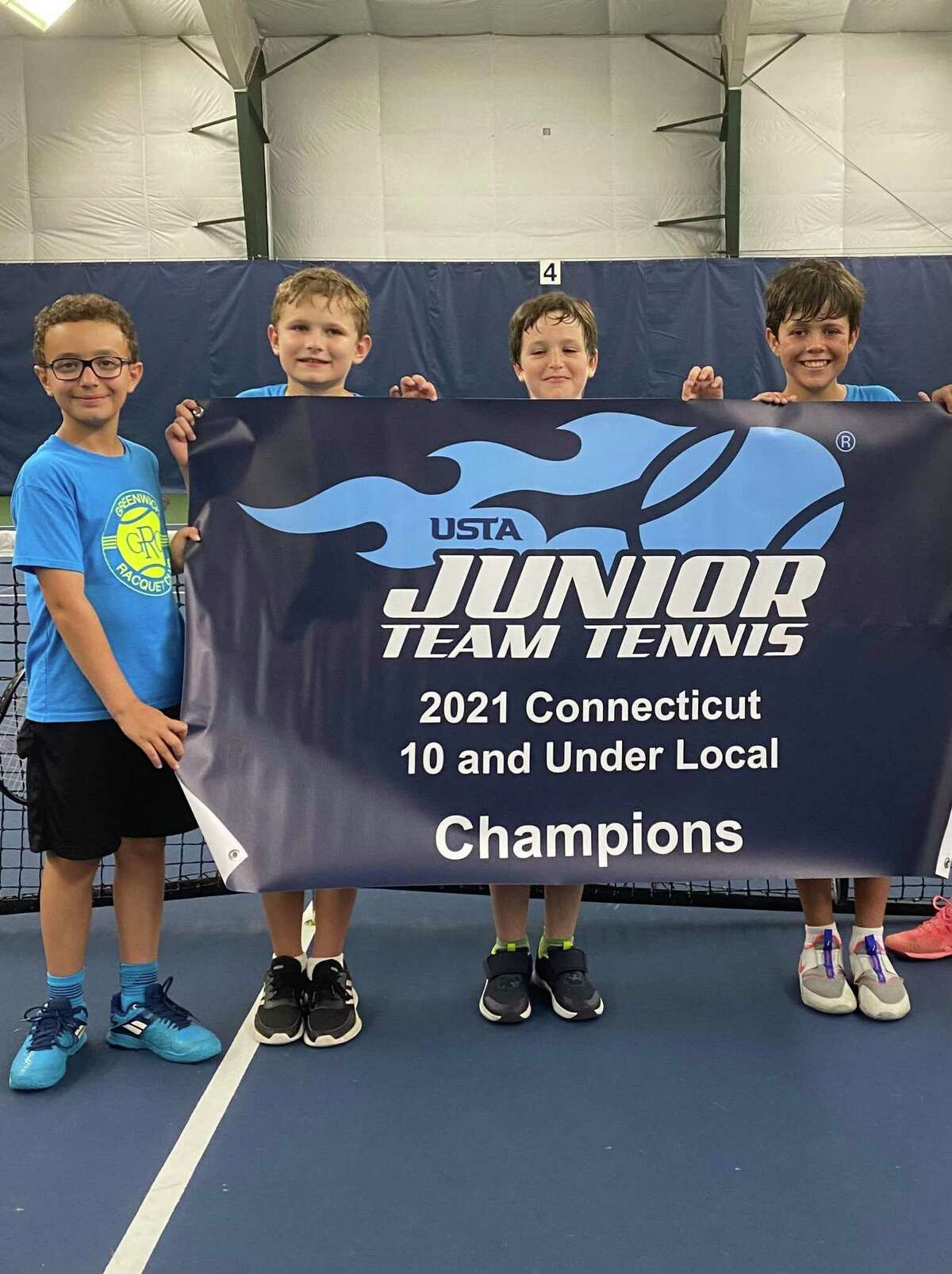 Greenwich Racquet Club 10-under state championship team from left, Jimmy Collins, Andrew Mahoney, Maximo Alverez, and Santiago Rodriguez Del Valle. Players not pictured pic Delilah Neuman, Alfanso Kersman, Vincente Kersman. Coach is Joaquin Marshall.