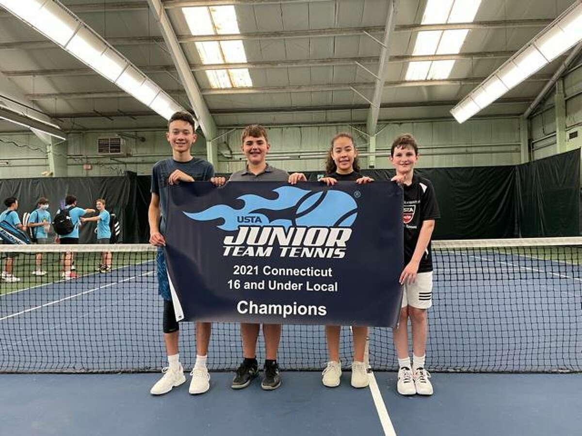 Greenwich Racquet Club 16-U state championship team from left, Jonas Macarios, Ben Gottlieb, Isabella Barriera and Oliver Rohrbasser. Players not pictured are Mei McGuinness, Ben Schuessler and coach Joaquin Marshall.
