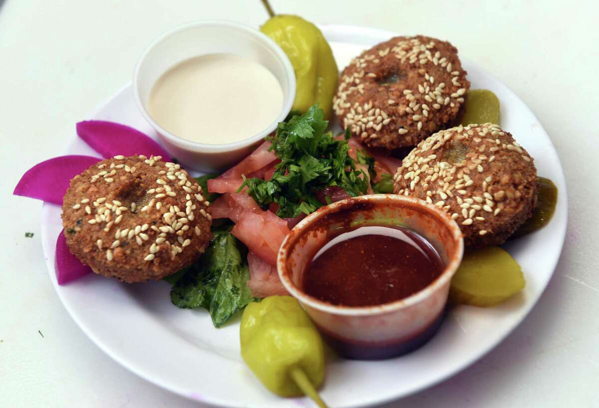 A falafel dish prepared by Mazen Alsaloumi at Westville Emesa on Whalley Avenue in New Haven.