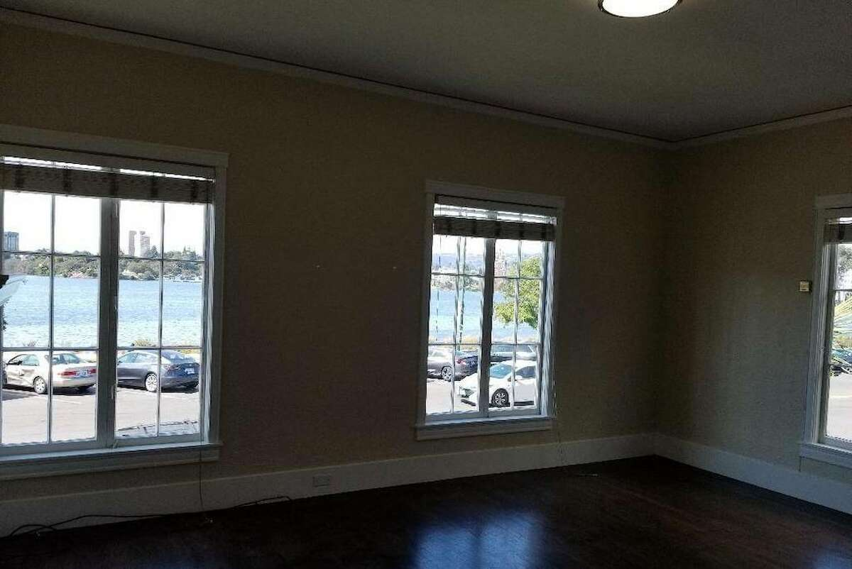 There are hardwood floors throughout and lots of natural light.