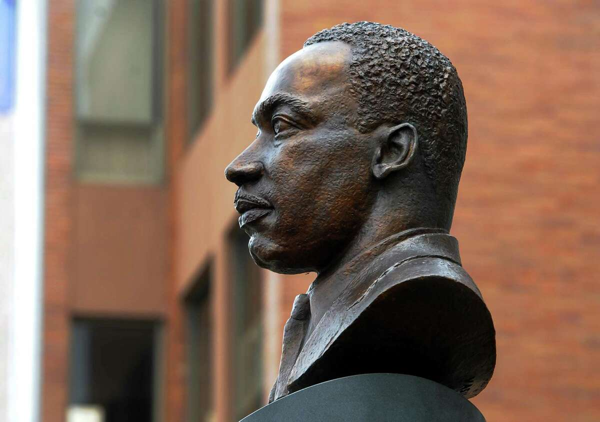 A bust of Martin Luther King Jr., created by sculptor Vasil Rakaj, was unveiled in front of Ansonia City Hall in Ansonia, Conn., on Saturday May 4, 2019.