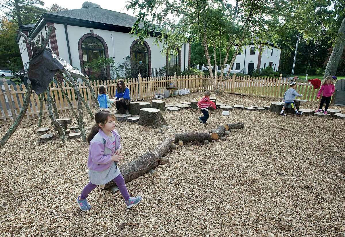 The playground at Carmel Academy's Early Learning Center in Greenwich, built with nature as a backdrop. Thursday, Oct. 13, 2016. The Chabad Lubavitch of Greenwich is looking to purchase the property and move its preschool programs there.