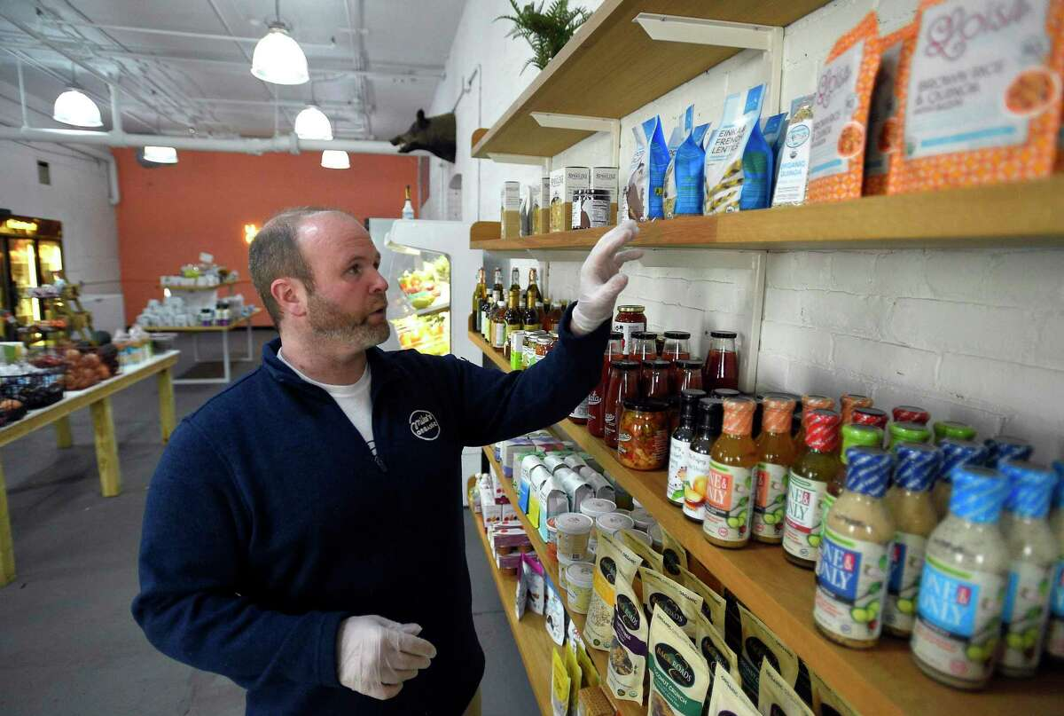 Chef Mike Geller, founder of Mike's Organic Delivery, is photographed on March 20, 2020 at his store in Stamford, Connecticut.