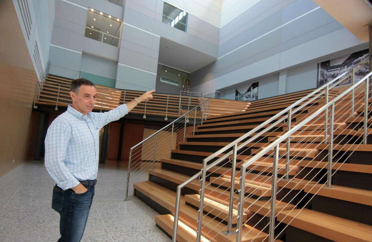Building and Land Technology Co-President Mike Handler gives a tour of the BLT-owned office complex at 1 Elmcroft Road in Stamford, Conn., on Wednesday, July 14, 2021.