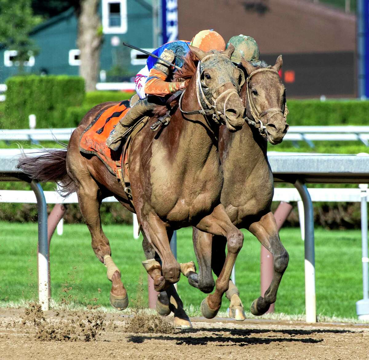 Irad Ortiz Jr. on Dynamic One holds off Miles D to win the 12th running of the The Curlin at The Saratoga Race Course Friday July 30, 2021 in Saratoga Springs, N.Y. Photo special to the Times Union by Skip Dickstein