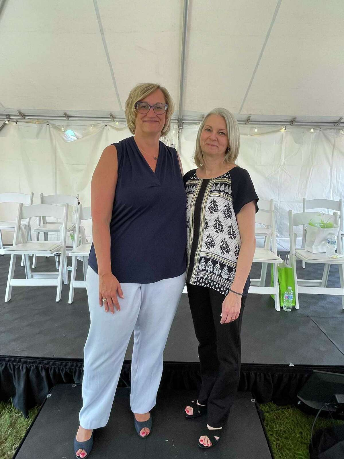 Alyssa Rotman, right, was recently named Employee of the Year at Gaylord Specialty Healthcare in Wallingford. At left isPresident and CEO Sonja LaBarbera.