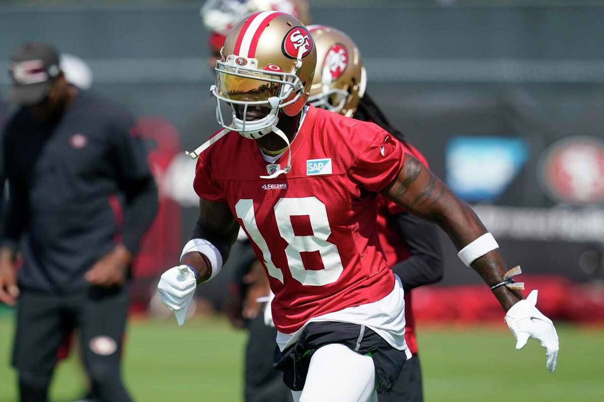 San Francisco 49ers wide receiver Mohamed Sanu Sr. warms up at NFL football training camp in Santa Clara, Calif., Thursday, July 29, 2021. (AP Photo/Jeff Chiu)
