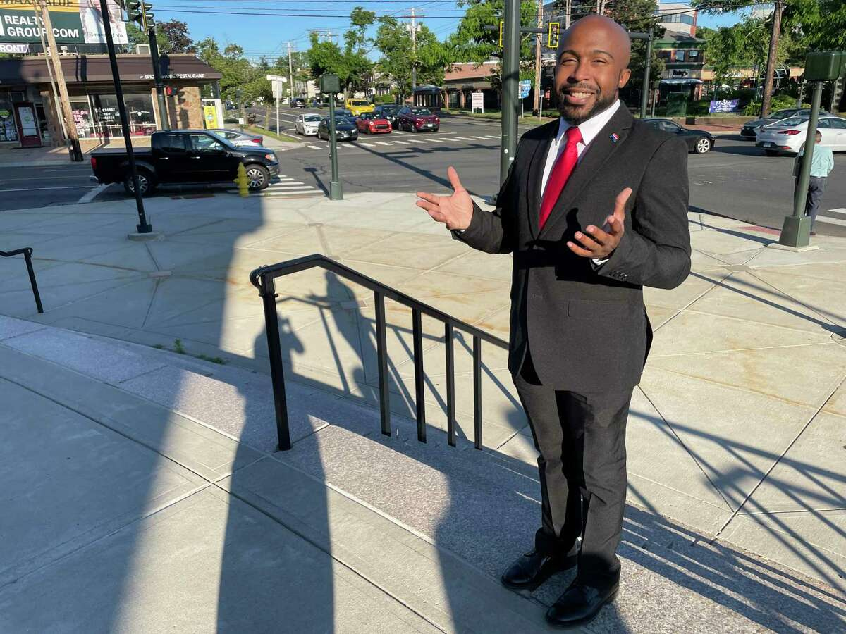 Justin Piper, the GOP candidate for the 4th District Legislative Council seat, is pictured at a campaign kickoff on June 17, 2021, at Memorial Town Hall in Hamden.