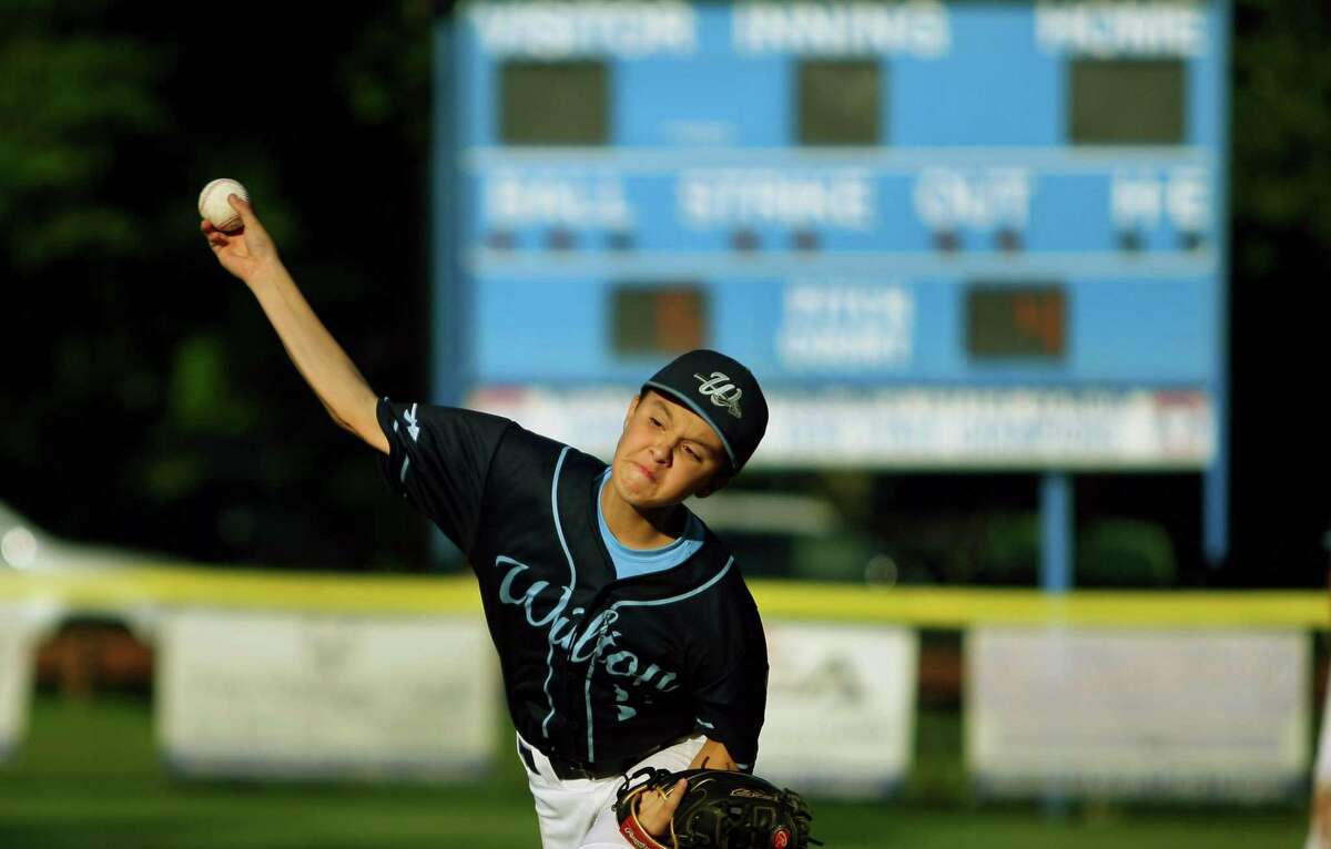 Wilton's Charlie Cretella pitches against Waterford in the Little League state championship tournament in Stamford on Friday.