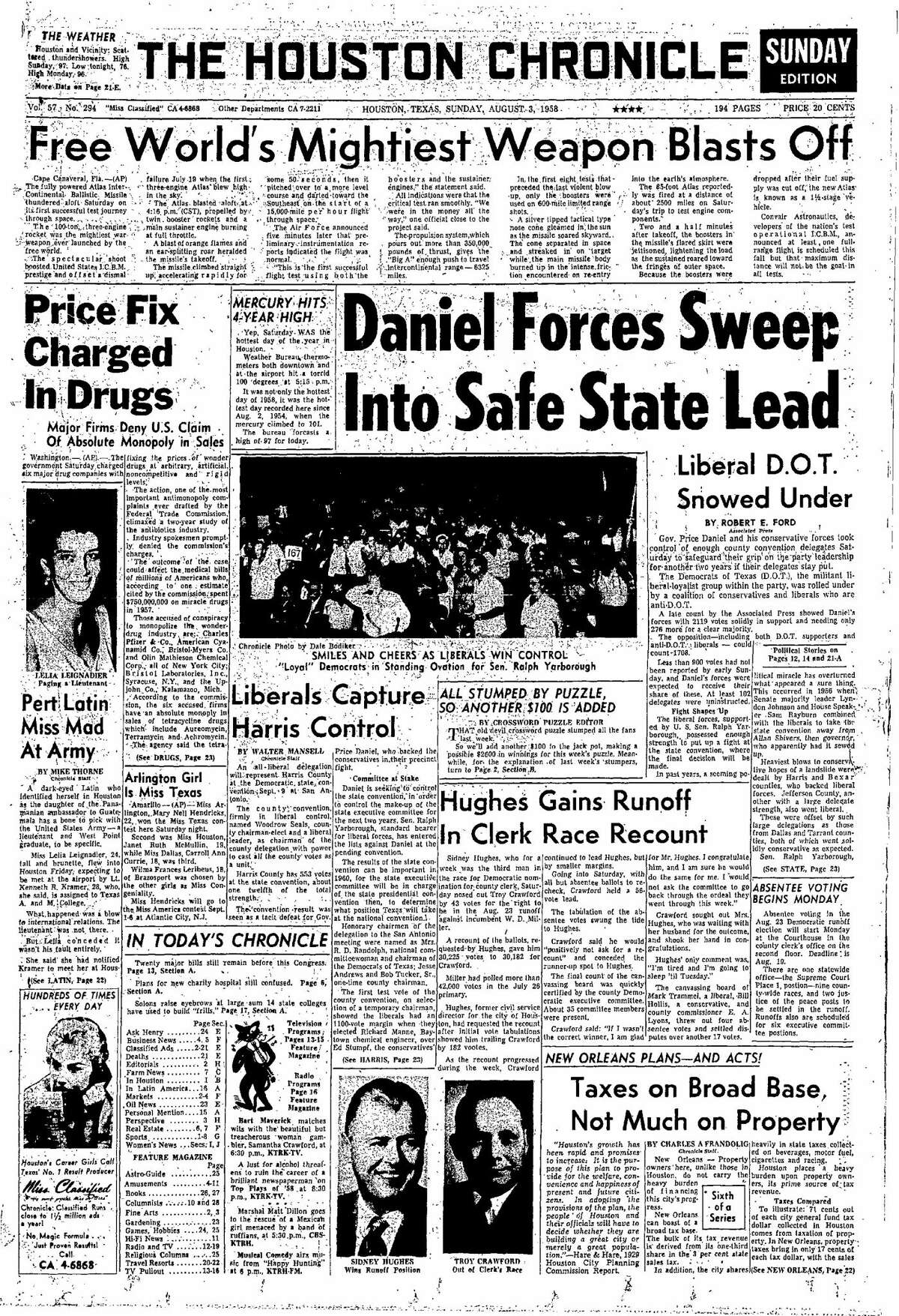 Houston Chronicle front page from Aug. 3, 1958.