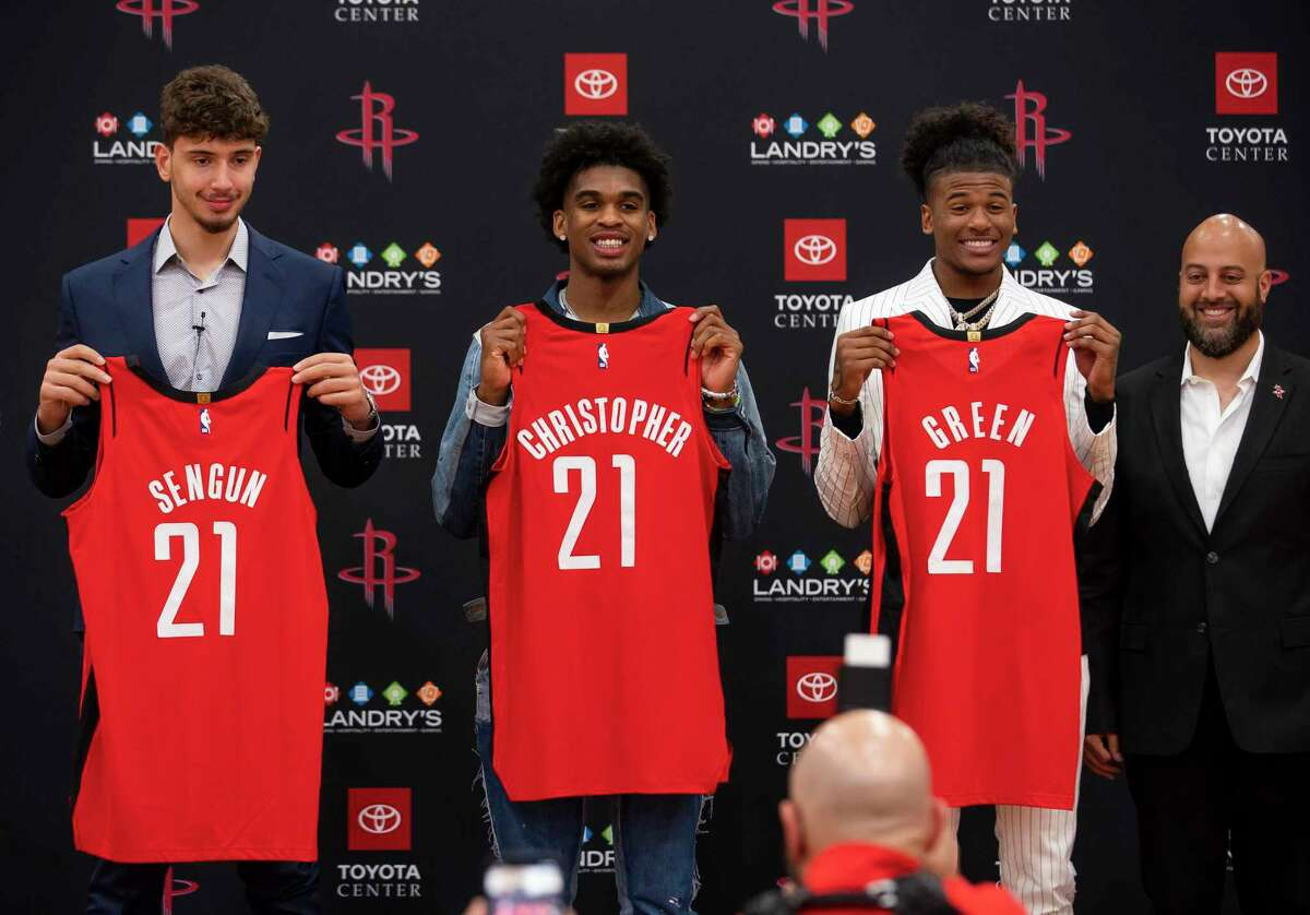 With six players 21 or younger, including (from left) first-round picks Alperen Sengun, Josh Christopher and Jalen Green, the Rockets will have to weigh how to balance playing their youth and how much to rely on the veterans still around.