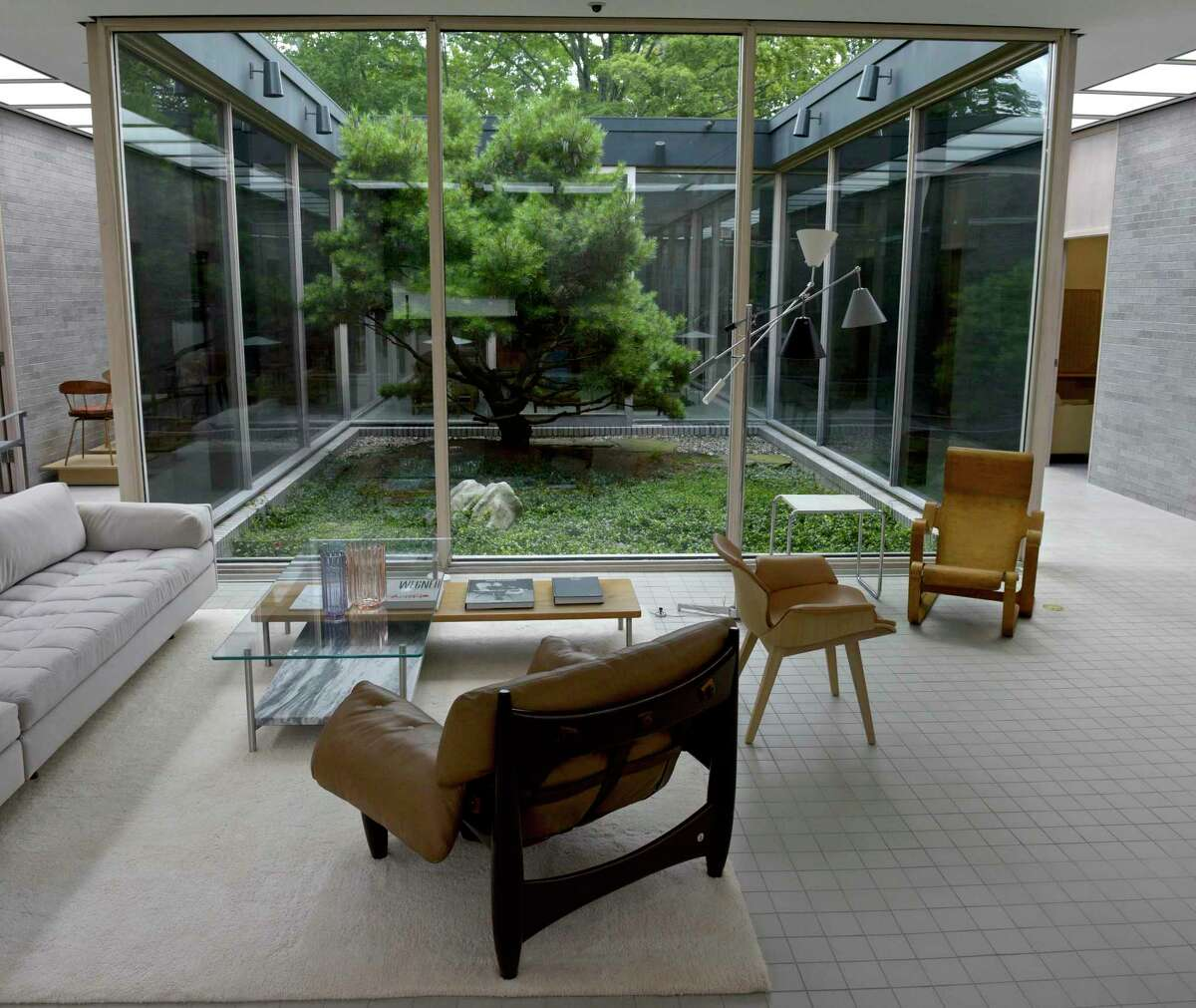 """A group of BassamFellows designed furniture with other historical selections. The pieces are in the exhibition """"Modern In Your Life"""" at the Schlumberger building, which runs through Sept. 4."""