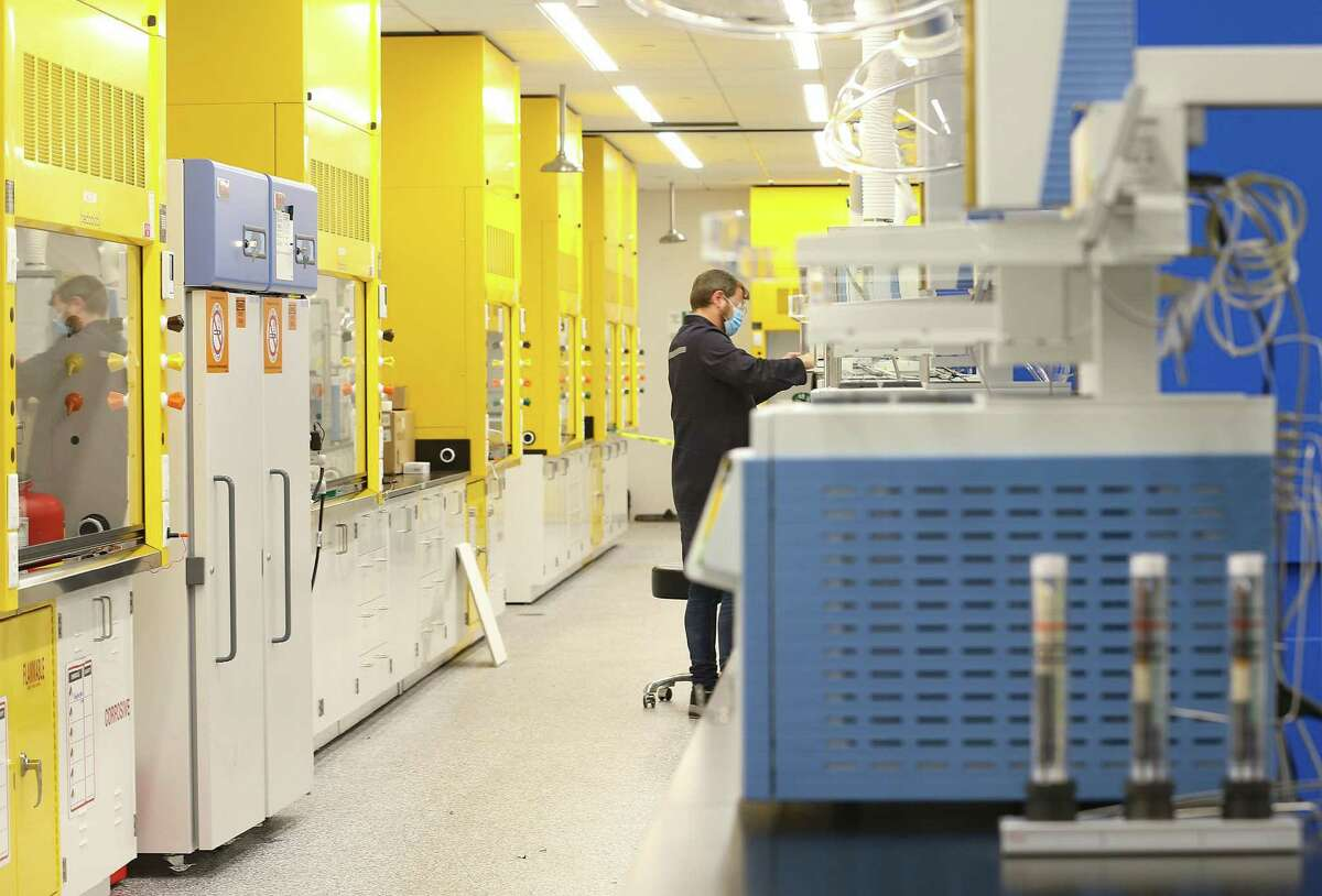 One of the labs for Gulf Coast Growth Ventures is in the process of being prepared to be put to use at the SABIC and ExxonMobil's multi-billion-dollar plastics manufacturing facility in Gregory on Wednesday, July 28, 2021.