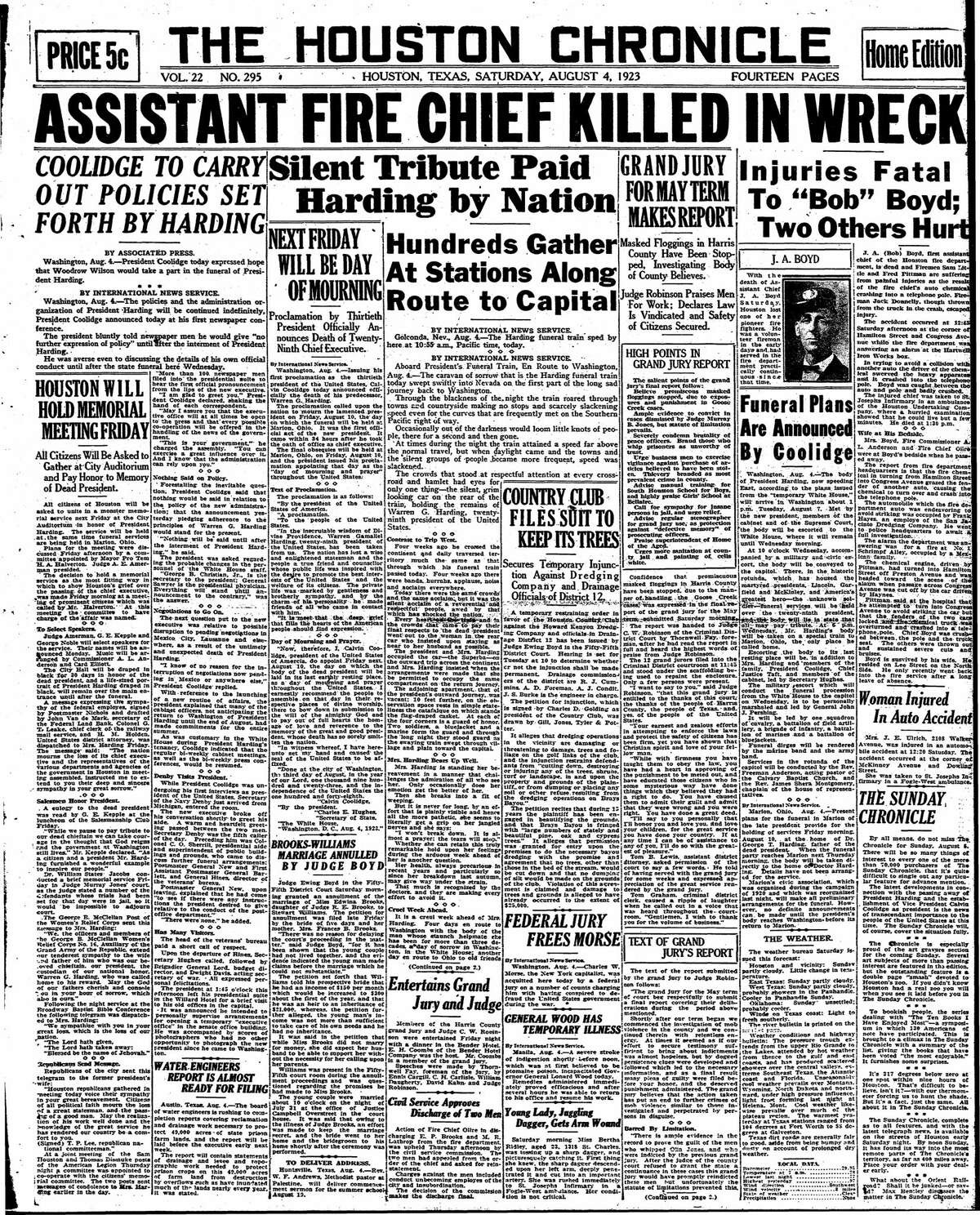 Houston Chronicle front page from Aug. 4, 1923.