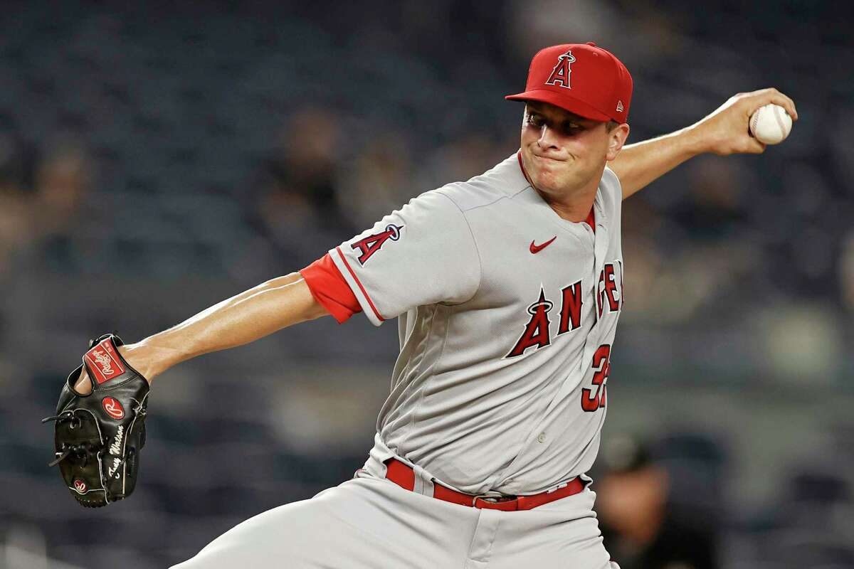 Los Angeles Angels relief pitcher Tony Watson delivers a pitch during the fifth inning of a baseball game against the New York Yankees on Wednesday, June 30, 2021, in New York. (AP Photo/Adam Hunger)