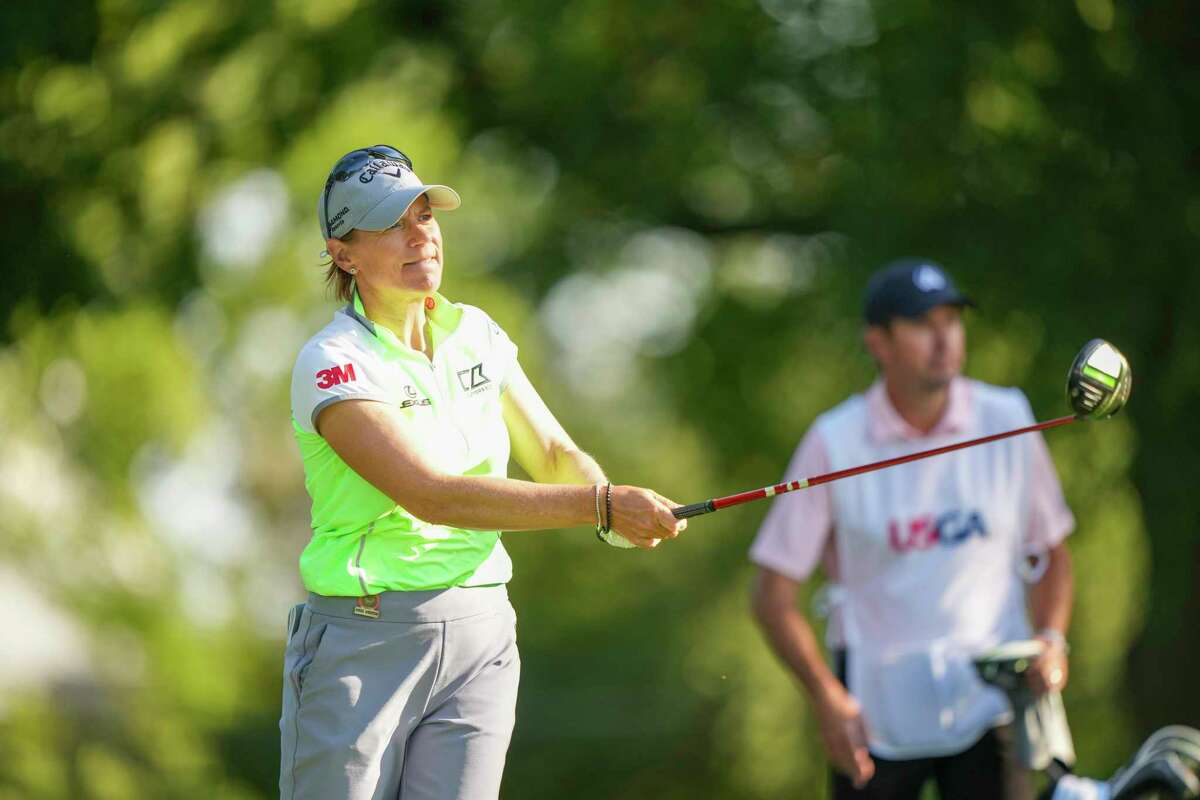 Annika Sorenstam hits a shot during the second round of the U.S. Senior Women's Open in Fairfield on Friday.