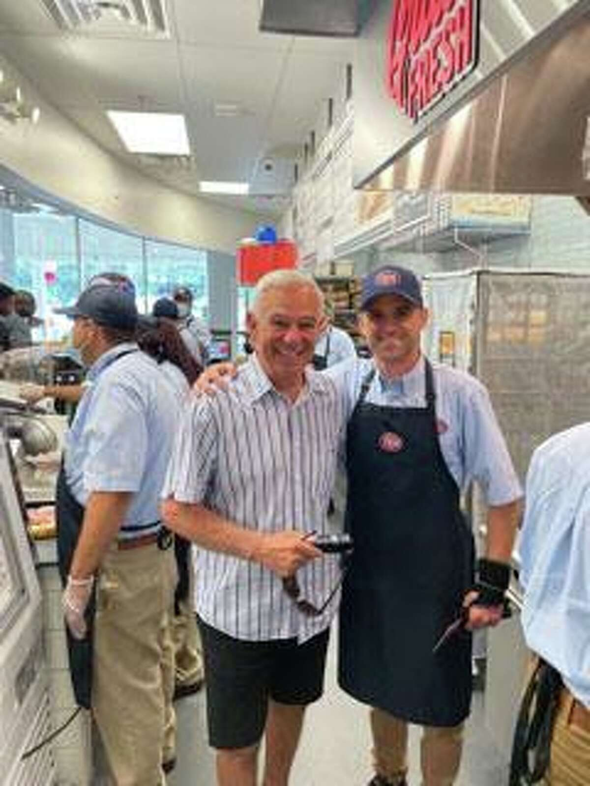 Stamford Mayoral hopeful Bobby Valentine with Joseph Cugine owner of the newly opened Jersey Mike's Subs on High Ridge Road in Stamford. Stamford resident and former MLB great Bobby Valentine, a candidate for mayor of Stamford, stopped by Jersey Mike's Sub Shop at its new location at 1209 High Ridge Road for its opening day festivities on July 21. SKY Mercede of Forever Sweet Bakery in Norwalk supplied the sweet treats for the Jersey Mike's staff at the event. 2021
